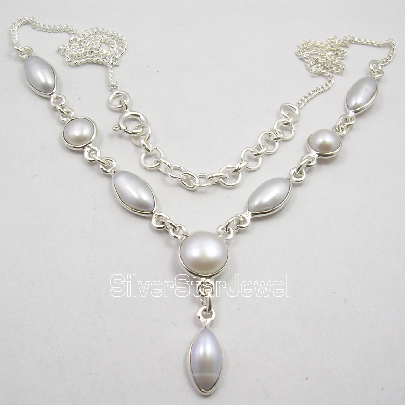 Chanti International Solid Silver WHITE AAA WHITE PEARL PRETTY Necklace 18 1/8 GIFT FOR FRIEND