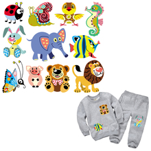 10pcs/lot Cute Animal Patches Iron On For Clothes Childrens T-shirt Dresses DIY Accessory Decoration A-level Washable