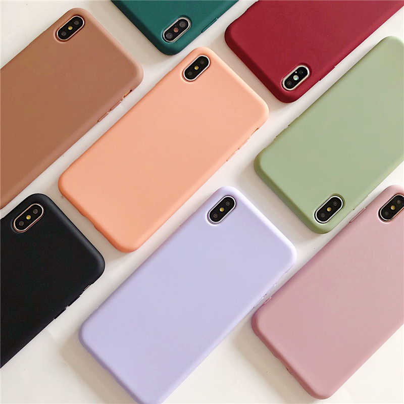 Coque souple de couleur bonbon Simple pour iphone 11 Pro XR X XS Max 6 6S 7 8 Plus Coque de protection en Silicone de couleur unie
