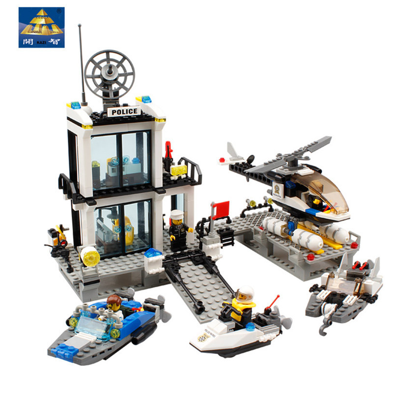KAZI 6726 Police Station Building Blocks Helicopter Boat SWAT Police Model Compatible With Legoed Bricks Toys For Children Gifts 6726 toy building blocks minifigures gift for kids police station on the sea building bricks kit assemble set susen go brand