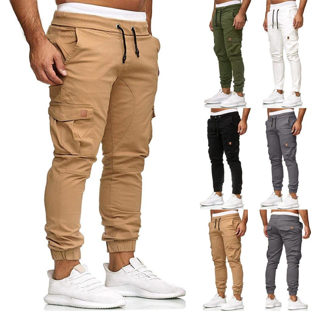 Hip Hip Streetwear Men's Joggers Pants 2019 Men High Quality Cotton Cargo Pant Trousers Elastic Waist Harem Pant Men