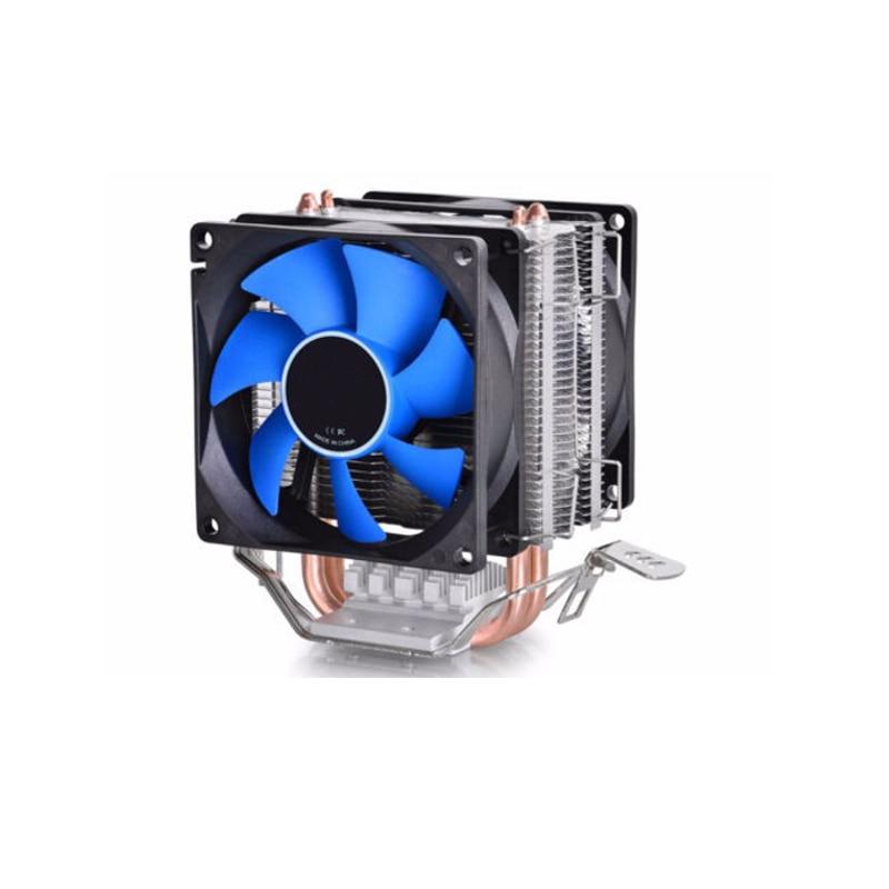 Universal CPU Cooling Fan Dual Fan CPU Quiet Cooler Heatsink 2pcs 80mm Silent Fan 2 Heatpipe Radiator For Intel LGA775/1156 pccooler s90 heatpipe cpu cooler heatsink w cooling fan black red silver