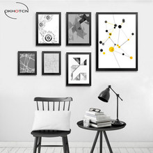 Geometry Abstract Canvas Painting Black White Yellow Modern Poster Nursery Wall Art Picture Home Decor No Frame(China)