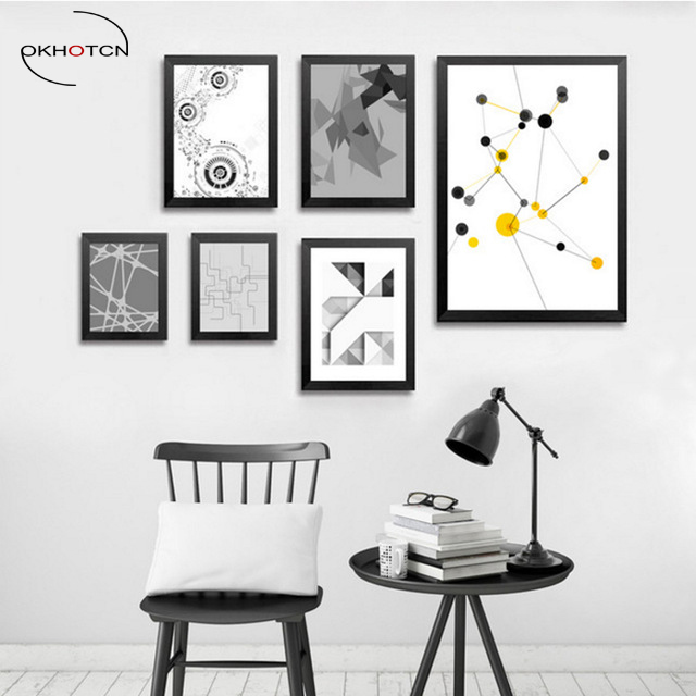 Okhotcn Geometry Abstract Canvas Painting Black White Yellow Modern Poster Nursery Wall Art Picture Home Decor No Frame