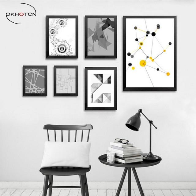 Okhotcn Geometry Abstract Canvas Painting Black White Yellow Modern