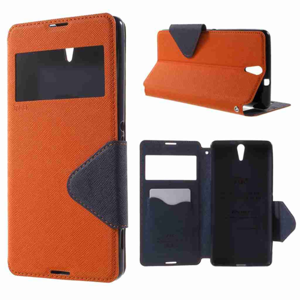 For Xperia C5 Case original ROAR KOREA Diary View Window Leather Phone Bag Cover for Sony