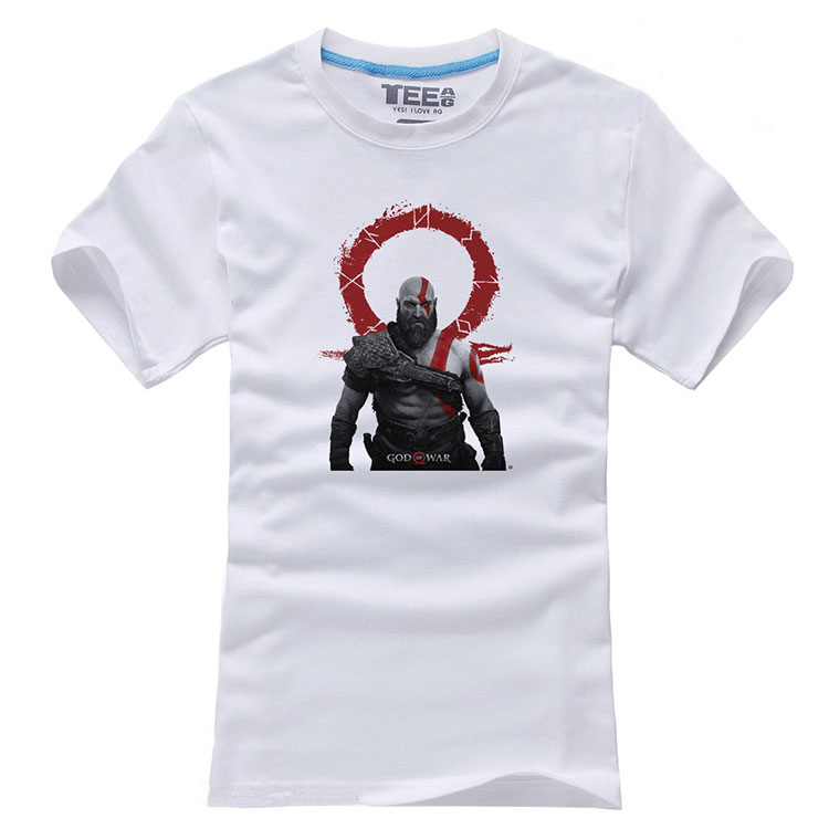 2018 Game God of War 4 Kratos Atreus T-shirts Short Sleeve Mens Casual Cosplay White Cotton O-Neck Tops Tee Shirts