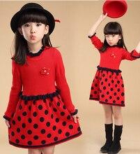 2016 корейских Новый стиль китайский швейная фабрика с длинным рукавом бантом кукла воротник стиль девушка зимой платье для детей