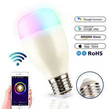 E27 RGB 7W WIFI LED Smart Bulb Ball Lamp Dimmable Color LED Light Bulb Works with Alexa Google Home iOS Mobile Phone APP Control