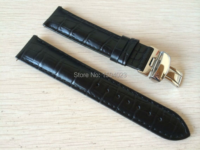 <font><b>19mm</b></font> (Buckle18mm) <font><b>PRC200</b></font> T17 T41 T461 High Quality Silver Butterfly Buckle + Black Genuine Leather Watch Bands Strap image