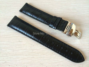 Image 1 - 19mm (Buckle18mm) PRC200 T17 T41 T461 High Quality Silver Butterfly Buckle + Black Genuine Leather Watch Bands Strap