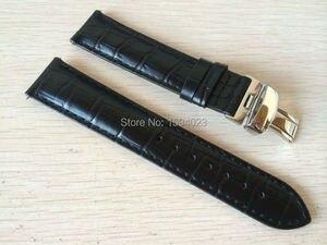 Image 1 - 19mm (Buckle18mm) PRC200 T17 T41 T461 באיכות גבוהה כסף פרפר אבזם + שחור אמיתי עור להקות