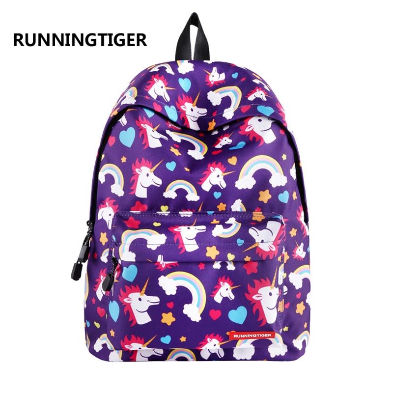 RUNNINGTIGER Unicorn Backpack 2018 New Printing School Backpacks for Teenage Girl Women Unicornio Bagpack Travel Mochila 6colors