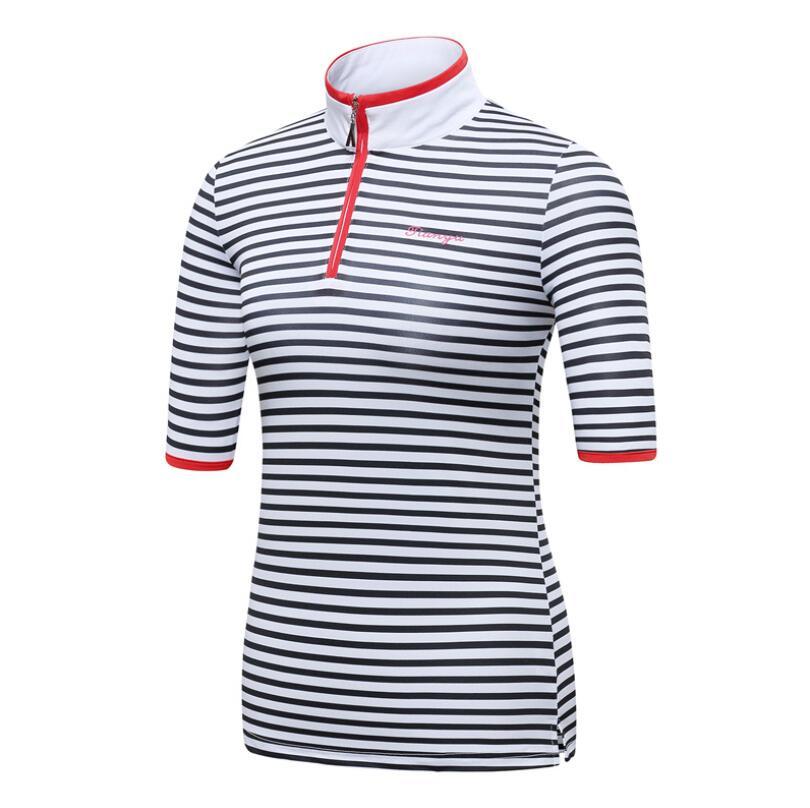 Vestuário de Golfe T-shirt de Golfe Respirável e Quick-secagem Verão Novo Listrado Senhoras Short-manga Gola Zipper Sportswear Topos 2020