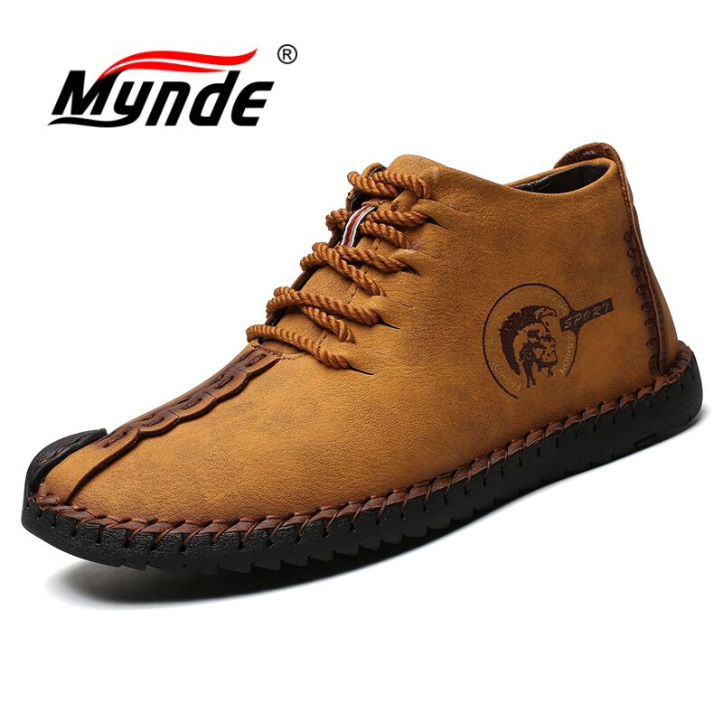Mynde Warm Winter Men Boots High Quality Split Leather Snow Boots Casual Men Shoes Plush Fashion Rubber Ankle boots size 38~48 men winter super warm ankle boots handmade genuine leather high quality brand plush snow shoes casual russian style boots men