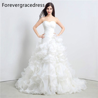 Forevergracedress Real Pictures White Wedding Dress Sleeveless Sweetheart Ruffles Ruched Long Bridal Gown Plus Size Custom