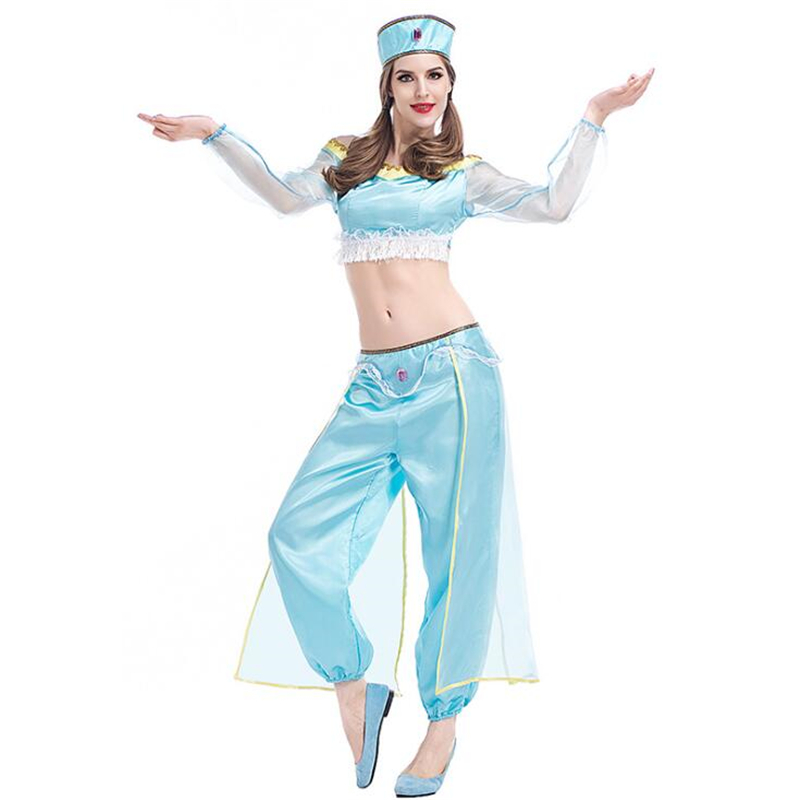 2018 Womens Aladdin Lamp Costume Halloween Party Cosplay Clothing