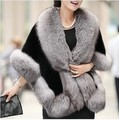 2015 Winter Leather grass fox fur mink rabbit fur poncho cape bridal wedding dress shawl cape women vest fur coat