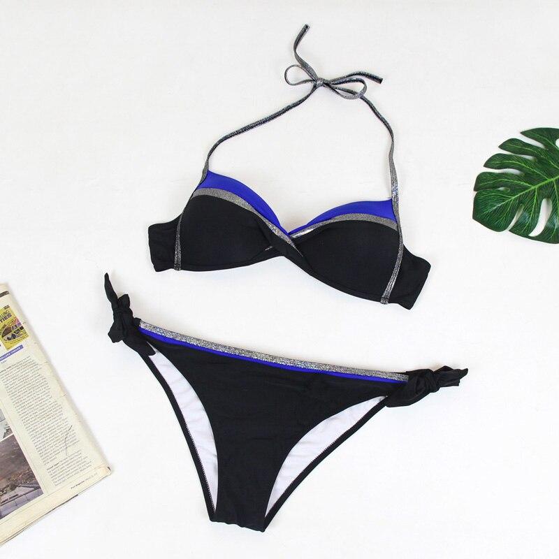 HTB1o7tbOhnaK1RjSZFBq6AW7VXaD Bikinis 2019 Plus Size Swimwear Women Sexy Halter String Shiny Bordered Bathing Suit Push Up Swimsuit Lace Up Twist Bikini Set