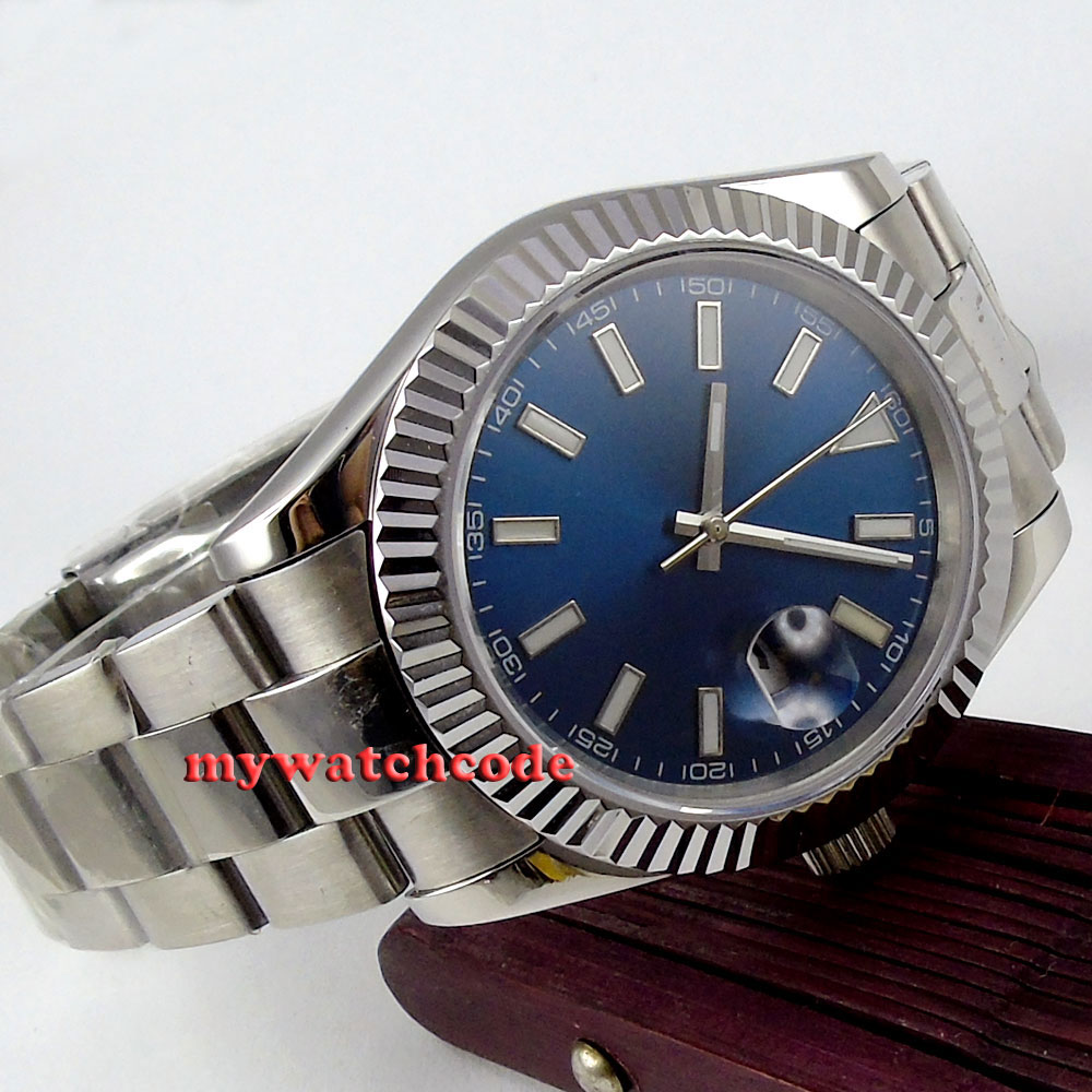 40mm parnis blue dial sapphire glass date automatic mens watch P190