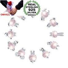 OMHXZJ-Colgante de Plata de Ley 925 con diseño de zodiaco chino, colgante de Animal rosa de cuarzo, SIN Cadena, para mujeres