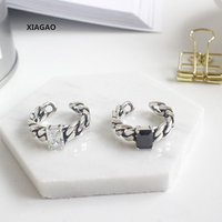 XIAGAO 925 Sterling Silver Open Ring For Women Chain Ring With Square Crystal Do The Old