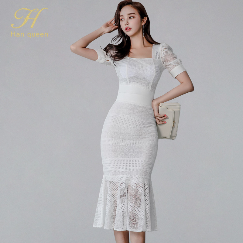 H Han Queen Sexy Lace Patchwork Mermaid 2 Pieces Suits Women 2019 Summer Puff Sleeve Hollow Out Crop Top & Fishtail Skirts Set