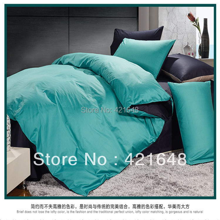 Free Shipping 100 Cotton Turquoise Solid Pattern 4pcs
