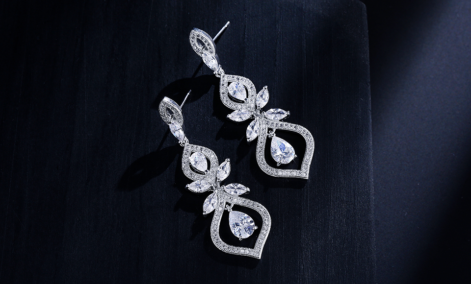 ZAKOL Luxus CZ Wedding Jewelry Chandelier Dangles Drop Earrings For Noble Women Anniversary FSEP308 8