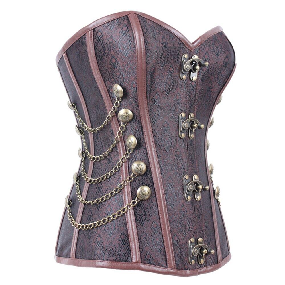 Vintage Corset sous le buste corps Shaper femmes corps minceur poitrine harnais poitrine Compression gilet F0302 marron Rivets chaînes