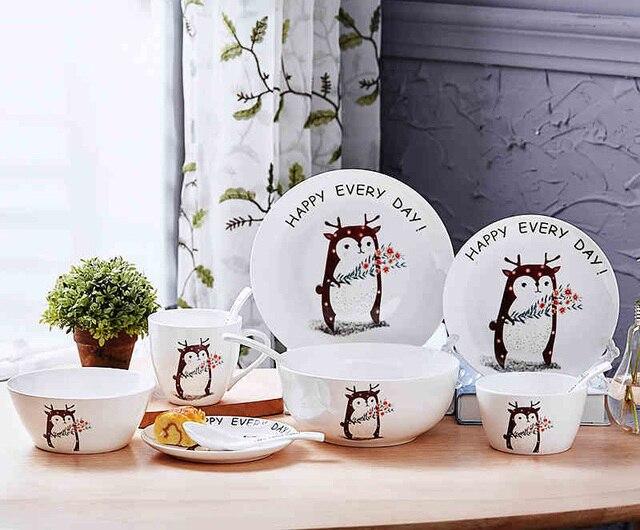 10pcs Set Bone China Children Dinnerware Cute Animal Cartoon Baby Plate