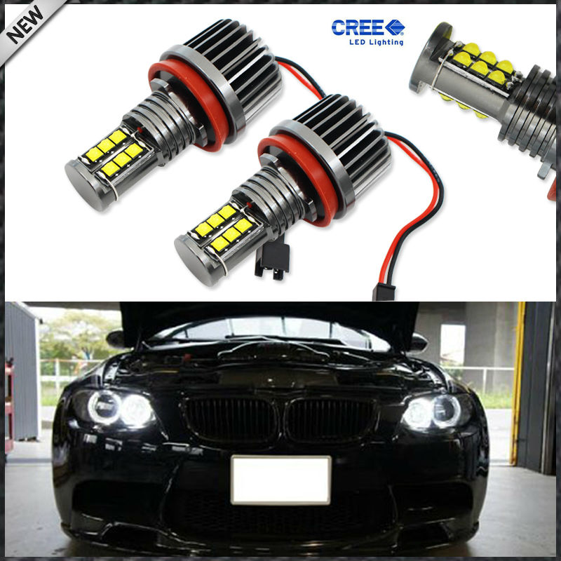 2pcs White 120W XT-E CRE'E High Power H8 LED For BMW Angel Eyes Ring Marker Bulbs for BMW 1 3 5 Series Z4 X5 X6 2pcs set canbus no error free led marker angel eyes front driving fog lights for bmw h8 1 3 5 x series halo ring kits