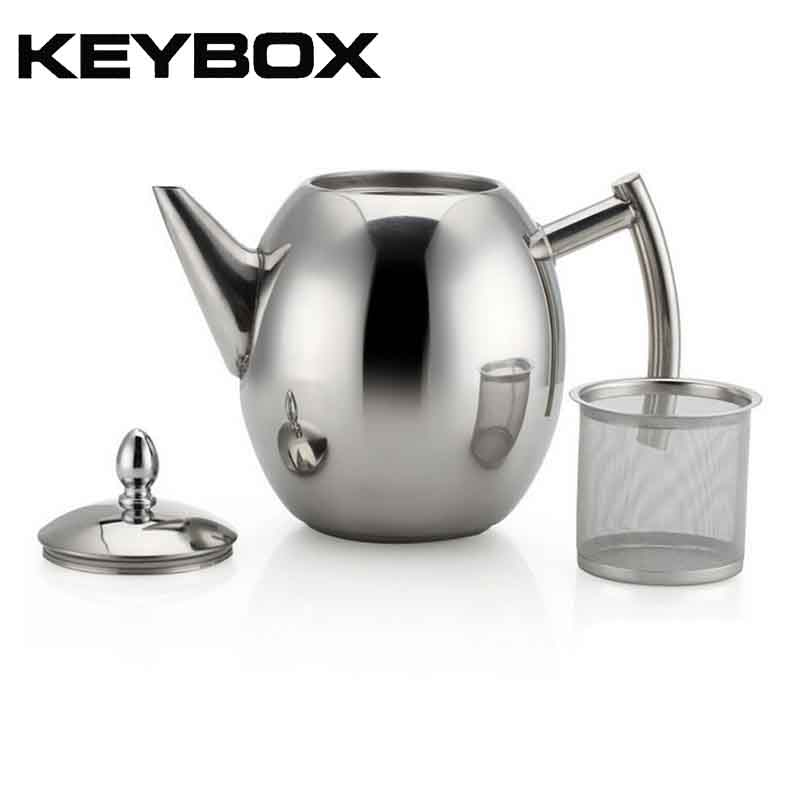 KEYBOX Stainless Steel Teapot Coffee Tea Kettles Silver Cold Water Pot Kettle With Strainer Home Kitchen Helper 1000ML/1500ML