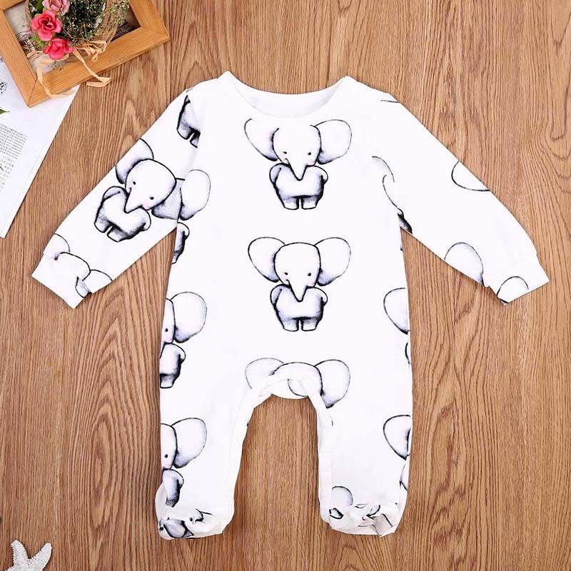 Cute Baby Elephant Print Romper Baby Boy Girl Clothing Newborn Cotton Long Sleeve Romper Jumpsuit 2017 New Baby Clothing Outfits