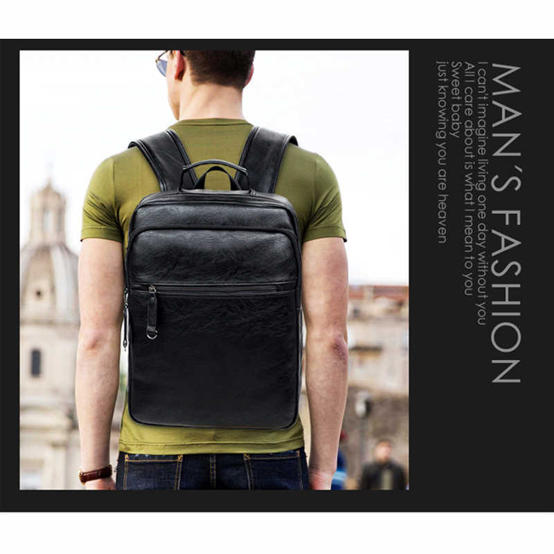 Crossten Fashion Men's Top Quality PU Leather laptop Backpack Men School Bag Leather male Rucksack knapsack bagpack Black brown