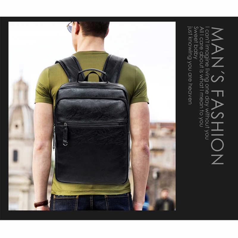 Crossten модный Мужской Топ качество PU кожаный рюкзак для ноутбука Мужская школьная сумка кожаный мужской рюкзак черный коричневый