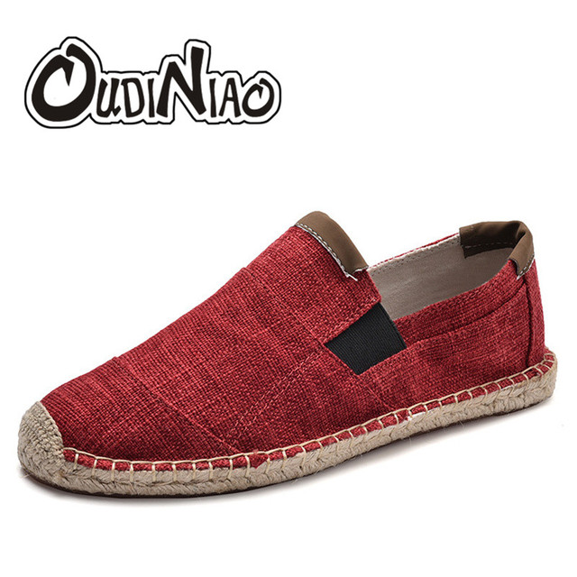 OUDINIAO Mens Shoes Casual Male Breathable Canvas Casual Shoes Men Chinese Fashion Soft Slip On Espadrilles For Men Loafers