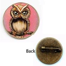 Vintage Cute Owl Art Pattern Brooch Charm Glass Cabochon Badge Fashion Man Woman Children Gift Party Souvenir Handmade Logo DIY
