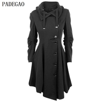 PADEGAO Black Single Breasted Trench Coat Irregular Hem Plus Size Double Sided Woolen Overcoat Autumn Winter