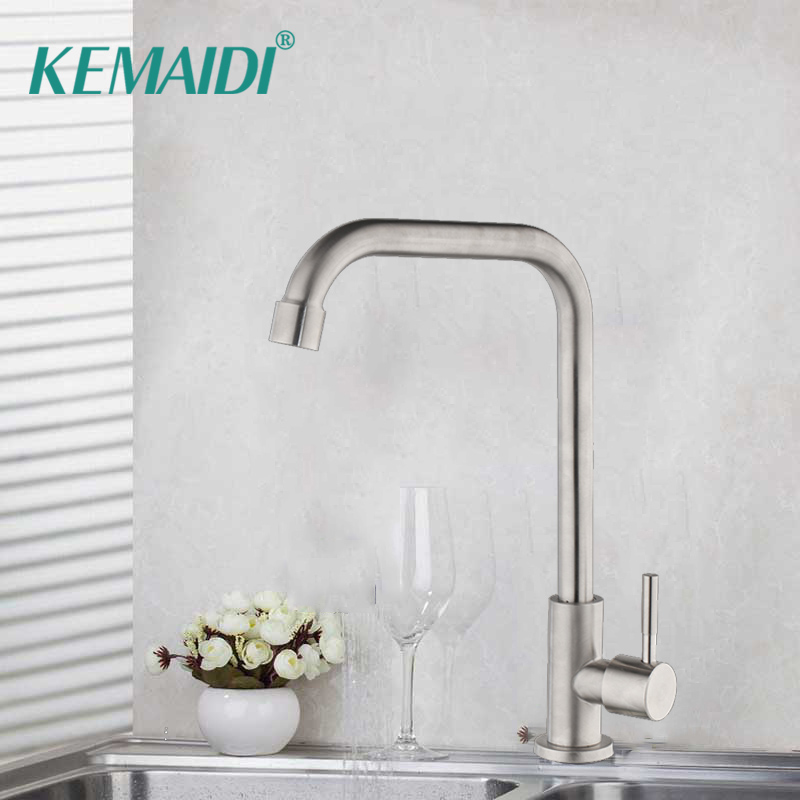 KEMAIDI 3 Style Kitchen Faucet Deck Mount Cold Water Faucet Single Handle One Hole Tap Only Cold Water Faucets