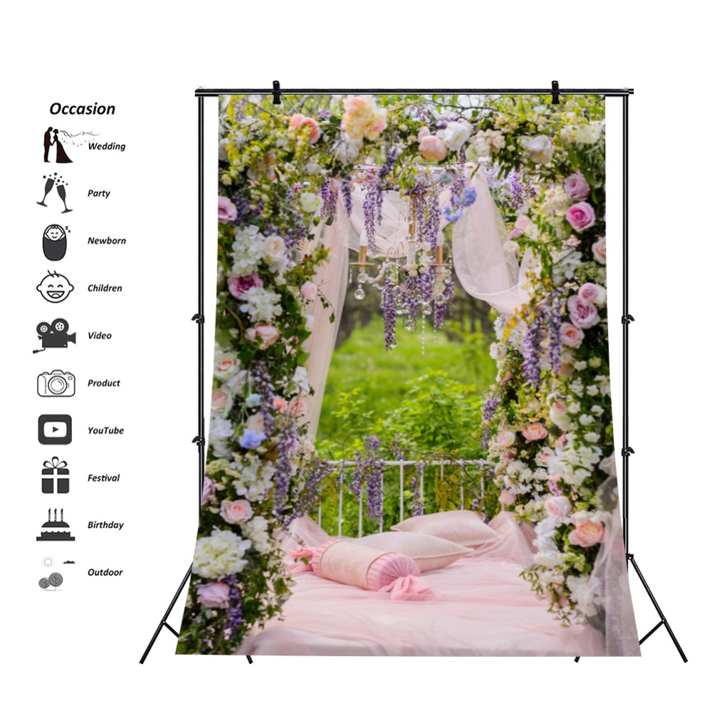Laeacco Vinyl Backdrops For Photography Wedding Flower Wreath Stage Spring Tassel Bridal Photographic Backgrounds Photo Studio in Background from Consumer Electronics