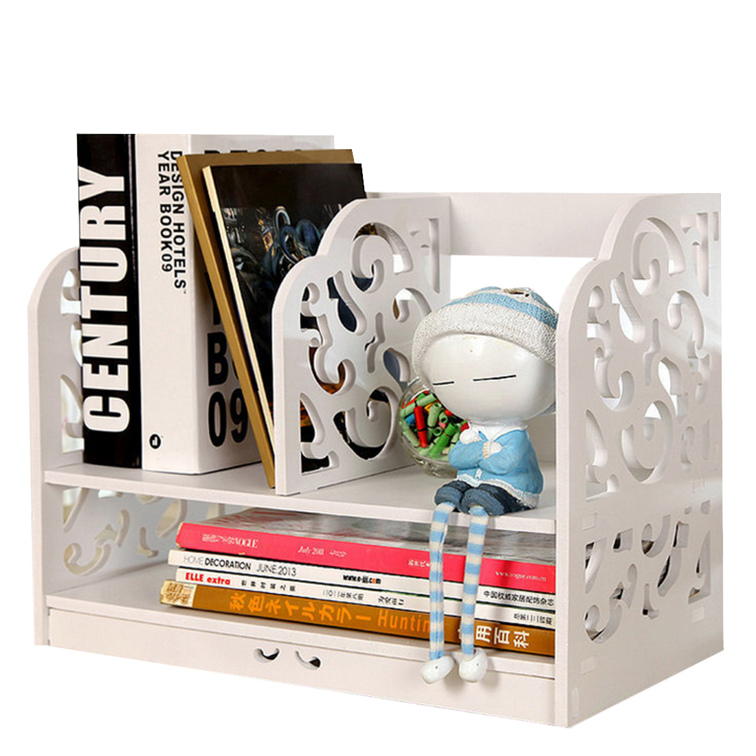 Creative Simple Tabletop Bookshelf Durable Combined Books Organizer Storage Shelf White