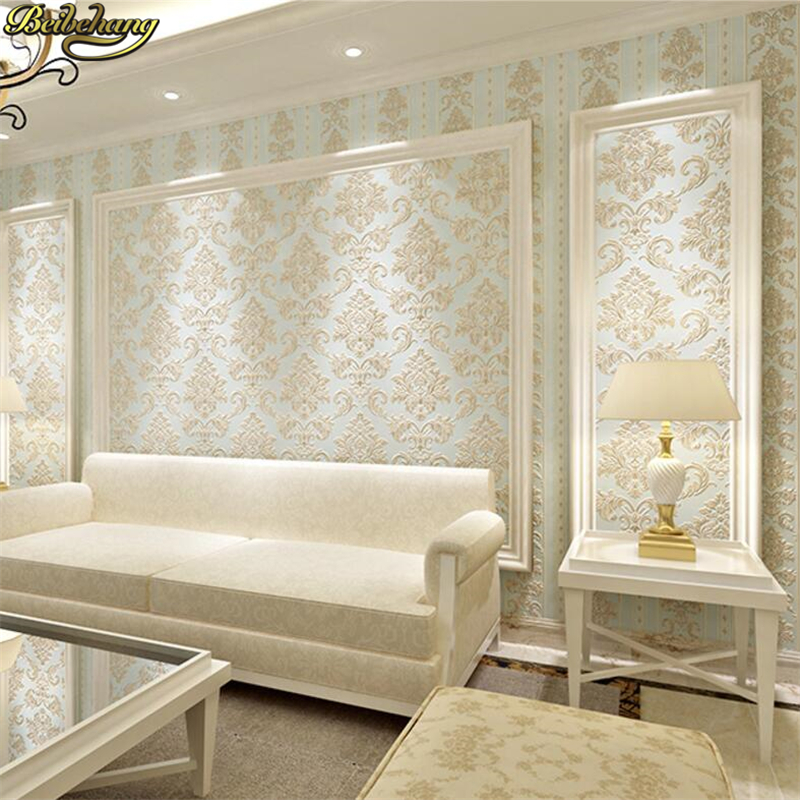 beibehang European style wallpaper non - woven living room bedroom TV background wall AB version with 3D stereo vertical bar non woven bubble butterfly wallpaper design modern pastoral flock 3d circle wall paper for living room background walls 10m roll