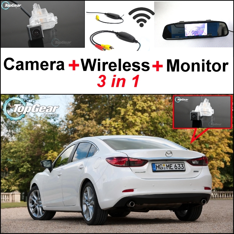 3 in1 Special Camera + Wireless Receiver + Mirror Monitor Easy DIY Parking System For Mazda 6 Mazda6 2013~2015 wireless pager system 433 92mhz wireless restaurant table buzzer with monitor and watch receiver 3 display 42 call button