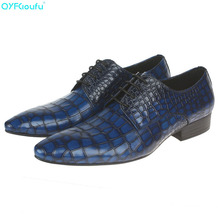 Men Wedding Shoes Genuine Leather Formal Business Pointed Toe For Man Dress Shoes Crocodile Pattern Men's Oxford Flats