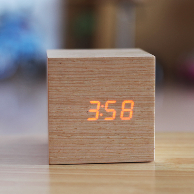 Gadgets Cool Natural Wood Clocks Led Display Sound Control Office Table