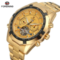 Men's Automatic Tourbillon Watch  FORSINING Gold Watches Male Mechanical Luxury Brand Calendar Watch relogio masculino