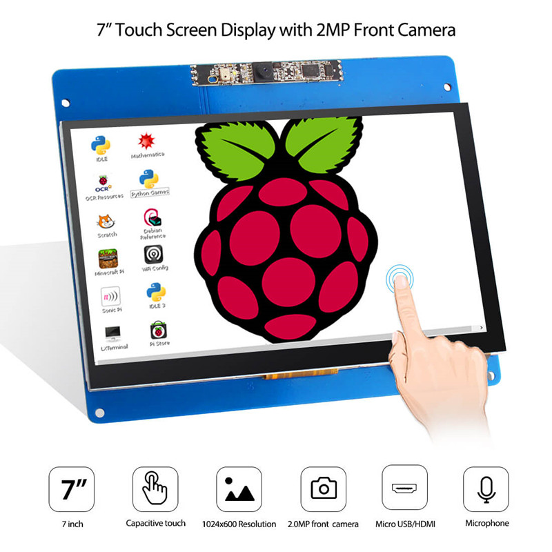Elecrow 7 inch Touch Screen Display 1024X600 HD Capactive Touchscreen with Camera and Microphone Display for Raspberry Pi 3 2B B