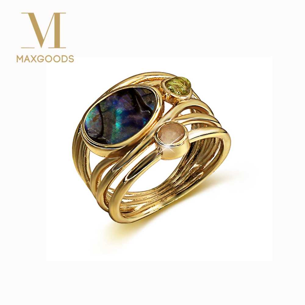 colorful moonstone ring for women European beauty creative multi-layer simulation shell rings Jewelry female bijouterie