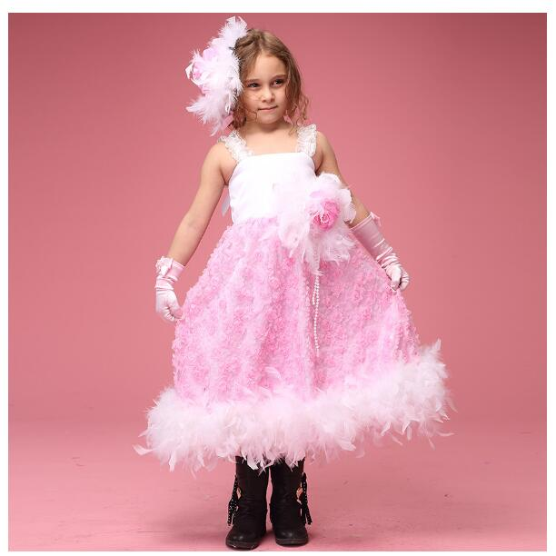 Girls Pageant Formal Dresses 2018 Gallus Off-Shoulder Lace tutu Kids Party Dress Children's Long Dress Party Dancewear Pink trendy see through off the shoulder long sleeve lace blouse for women